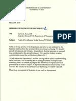 DOT Orders Audit of Boeing 737 MAX