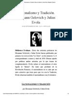 Nacionalismo y Tradición. Hermann Gelovich y Julius Evola | Biblioteca Evoliana
