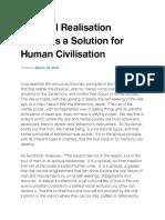 Aurobindo - Spiritual Realisation Provides a Solution for HumanCivilisation