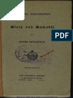 Sleep and Samadhi Sister Devamata R.K. Mutt