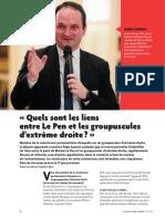 « Quels sont les liens entre Le Pen et les groupuscules d'extrême droite? » - Mon interview dans la lettre du cadre