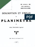 A.malchair - Description Et Emploi Du Planimètre