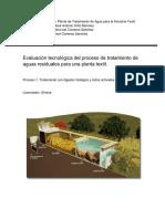 Evaluación tecnológica para una planta de tratamiento de agua