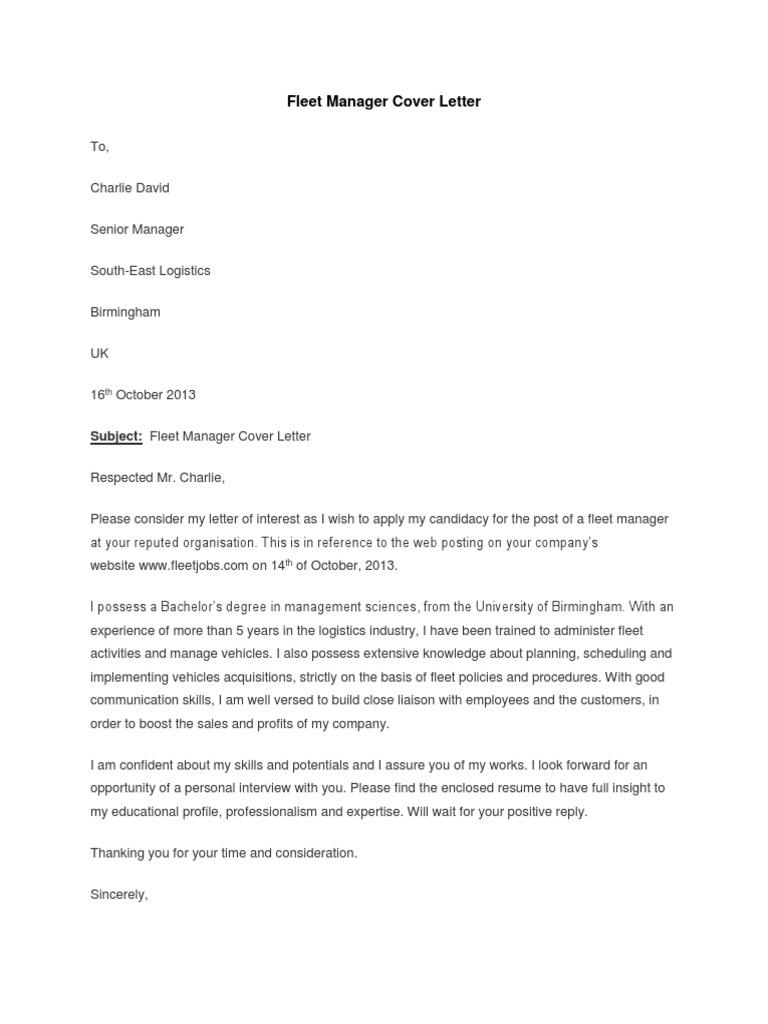 Fleet Manager Cover Letter Business