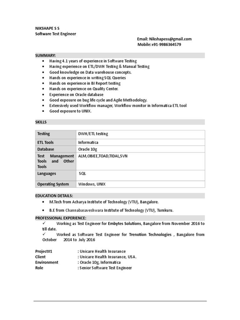 Nikshape s s | Software Testing | Data Warehouse