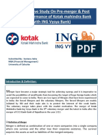 A Comparative Study on Pre-merger & Post Merger Performance of Kotak Mahindra Bank