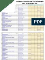 Rol de Examenes Finales y Susty 2018-2