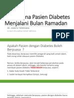 Bagaimana Pasien Diabetes Menjalani Bulan Ramadan