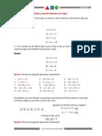Ejercicios de sumas y restas de numeros con signo