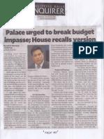 Philippine Daily Inquirer, Mar. 21, 2019, Palace urged to break budget impasse, House recalls version.pdf