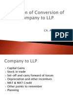 Taxation of Conversion of Company to LLP