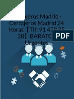 Cerrajeros Baratos Madrid