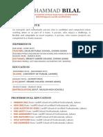 CV Resume Sample For Fresher