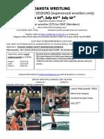 dakota wrestling summer clinic sessions flier 2019