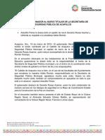 18-03-2019 RECIBE EL GOBERNADOR AL NUEVO TITULAR DE LA SECRETARÍA DE SEGURIDAD PÚBLICA DE ACAPULCO