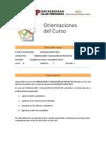 Orientaciones Del Curso Formulación y Evaluación de Proyectos
