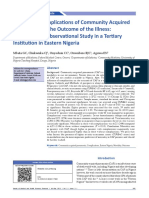 The Role of Complications of Community Acquired Pneumonia on the Outcome of the Illness a Prospective Observational Stud