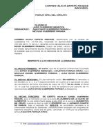 CONTESTACION DEMANDA  DISMINUCION DE CUOTA ALIMENTARIA