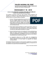 COMUNICADO PNP N° 18 - 2019
