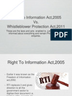Rti v. Whistle Blower Act. Ppt.