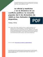 Fleitas, Mirta (2009). Medicina Oficial y Medicina Popular en La Dinamica de Un Conflicto Politico La Revuelta Popular Del 3 de Diciembre (..)