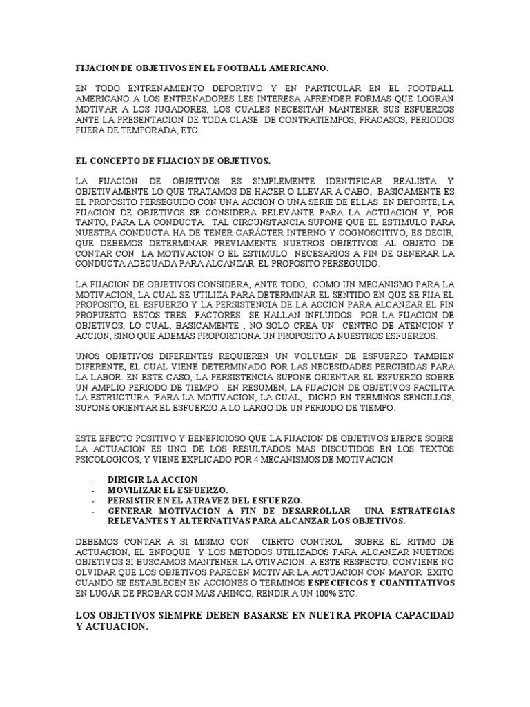FIJACION DE OBJETIVOS
