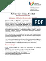 MEC Admissions Notification 2019-20