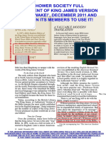 JEHOVAH'S WITNESSES / WATCH TOWER ORGANIZATION ENDORSES KJV BIBLE, 2011