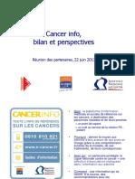 Bilan Cancer Info 22juin2011