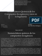 Nomenclatura Química de Los Compuestos Inorgánicos y Usos