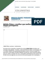 Nélida Piñon, A Mulher Que Melhor Fala a Língua Portuguesa - Jornal de Beltrão