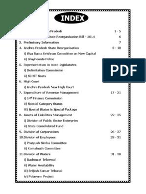 AP BIFURCATION pdf | Politics Of India | Politics