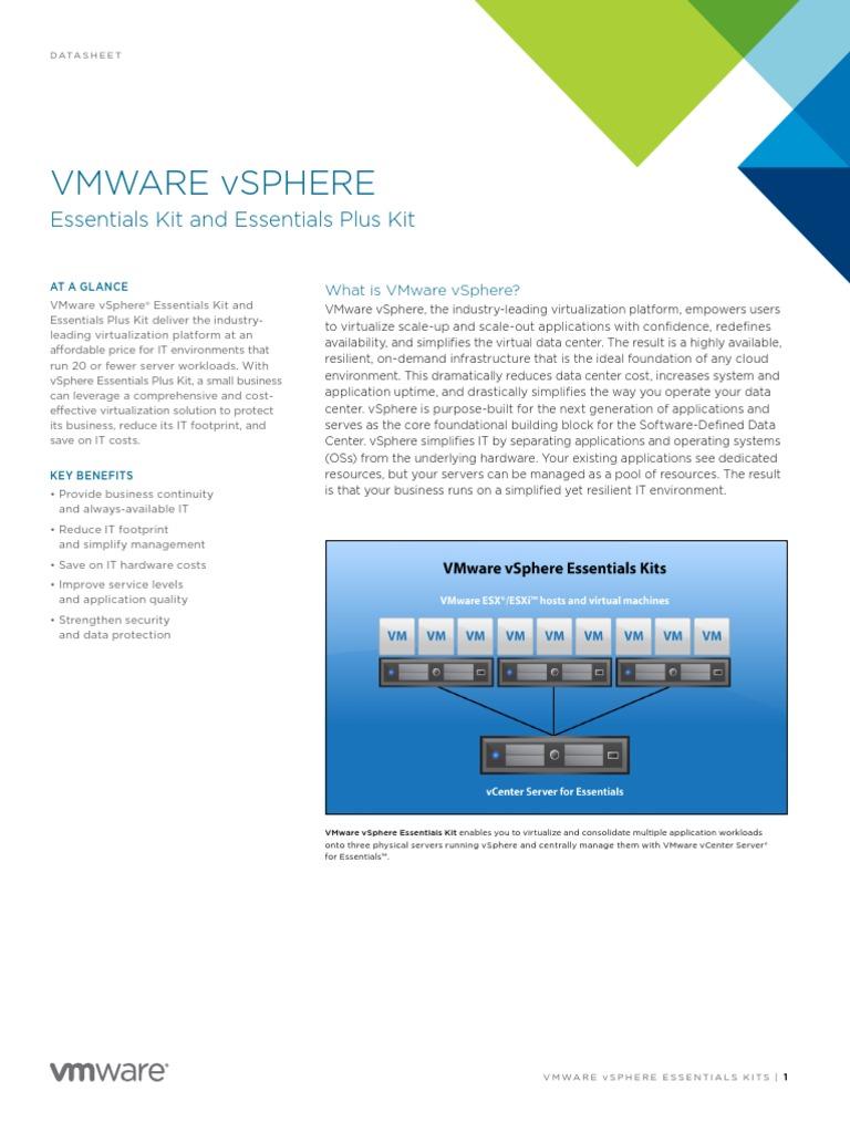 Vmware Vsphere Essentials Kits Datasheet | V Mware | Virtual