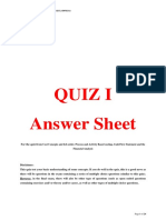 Quiz I_Answer Sheet