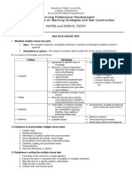 Handouts Paper and Pencil Test