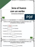 Conciencia Sintáctica Escribir Verbos Que Faltan