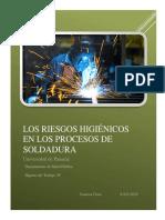 LOS RIESGOS HIGIÉNICOS EN LOS PROCESOS DE SOLDADURA