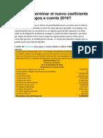 Cómo Determinar El Nuevo Coeficiente Para Los Pagos a Cuenta 2016