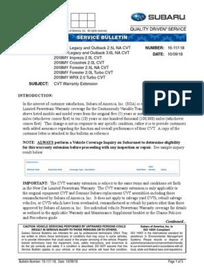 Subaru CVT Warranty Extension Service Bulletin