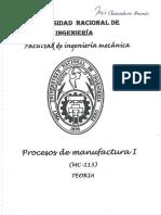 Procesos de Manufactura I - Teoría UNI