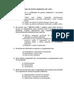 SISTEMA DE GESTÃO AMBIENTAL ISO 14001 Perguntas