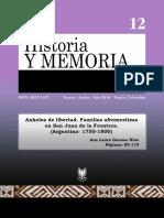 Anhelos de Libertad. Familias Afromestizas en San Juan de La Frontera. (Argentina- 1750-1800).