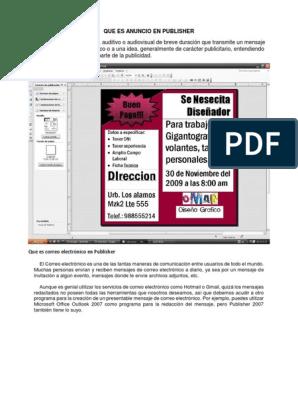 Que Es Anuncio En Publisher Docx Informática Tecnología