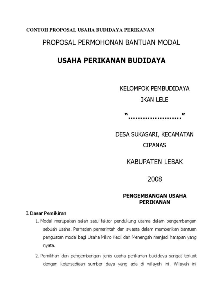 Contoh Proposal Usaha Budidaya Perikanan Docx