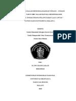 """UPAYA POLRI DALAM MENSOSIALISASIKAN UNDANG – UNDANG NOMOR 22 TAHUN 2009  DALAM RANGKA MEMINIMALISIR TERJADINYA TINDAK PIDANA PELANGGARAN LALU LINTAS """" ( STUDI KASUS DI POLRESTA MALANG )"""
