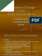 Formulation of Dosage Forms- Pre Formulation Factors