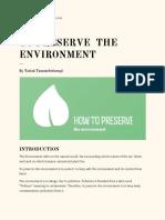 How to Preserve the Environment by Tariah Tamunobirinengi PDF