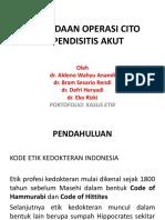 Penundaan Operasi Cito Appendisitis Akut