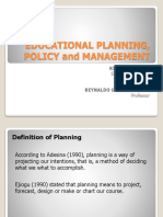 Educational Planning, Policy and Management