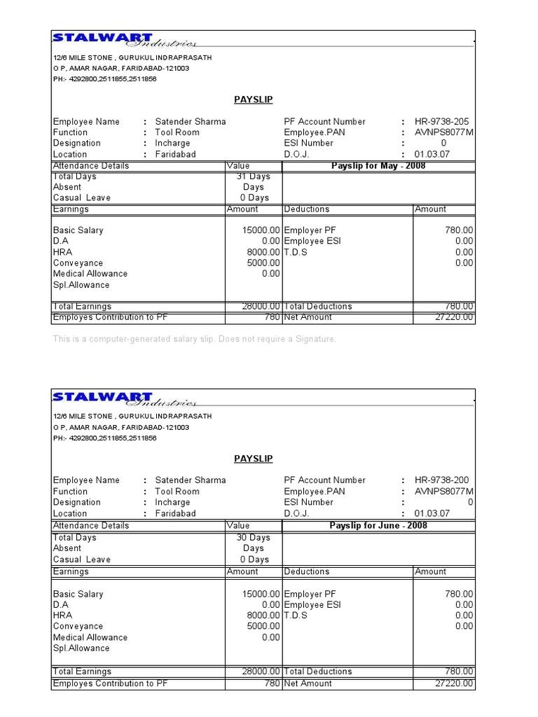 Employees Salary Slip free salary slip format in word pdf – Salary Slip Format for Contract Employee